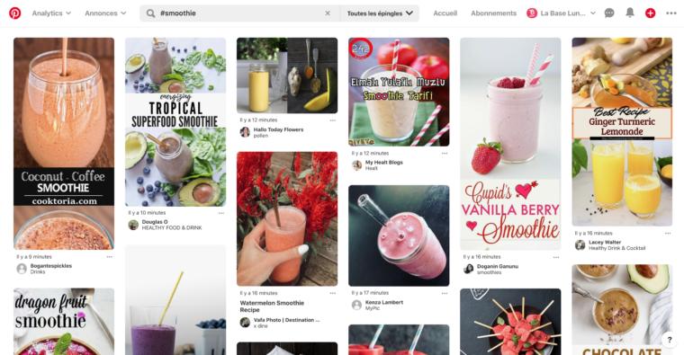 Résultats de recherche Pinterest pour #smoothie