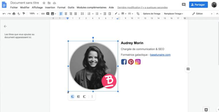 Redimensionner une image dans un fichier doc Google Drive