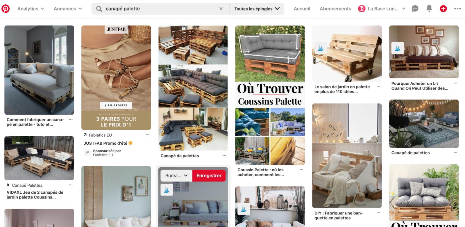 Résultats de recherche Pinterest pour canapé palette