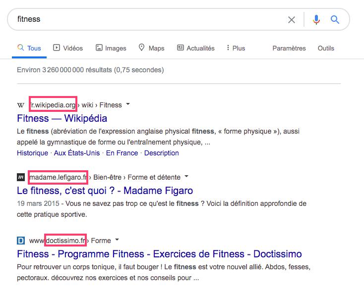 """Résultats de recherche de Google pour le mot-clé """"fitness"""""""