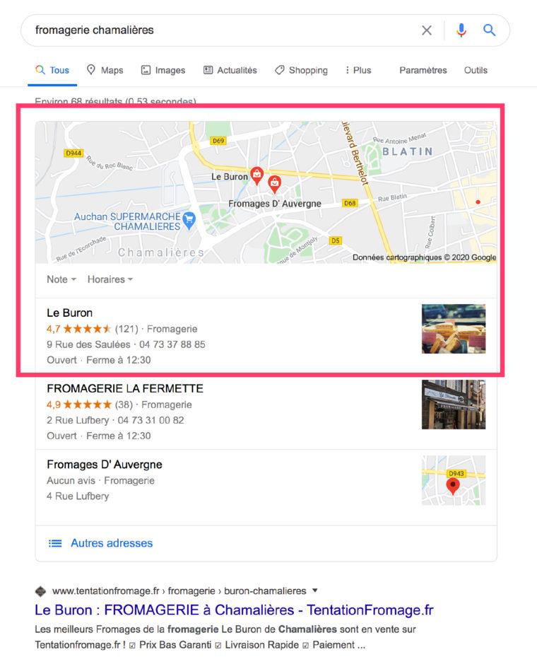 """Résultats de recherches Google pour la requête """"fromagerie chamalières"""""""