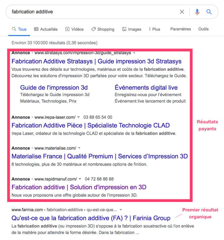 """Résultats de recherche Google pour la requête """"fabrication additive"""""""