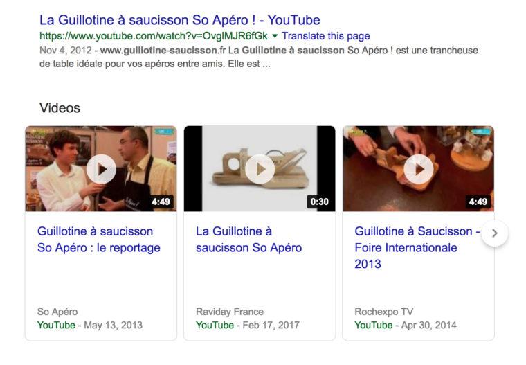 """Capture d'écran partielle des résultats de recherche Google pour """"guillotine à saucisson"""""""