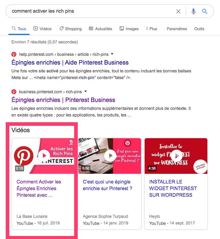 """Résultats de recherches vidéo Google pour la requête """"comment activer les rich pins"""""""