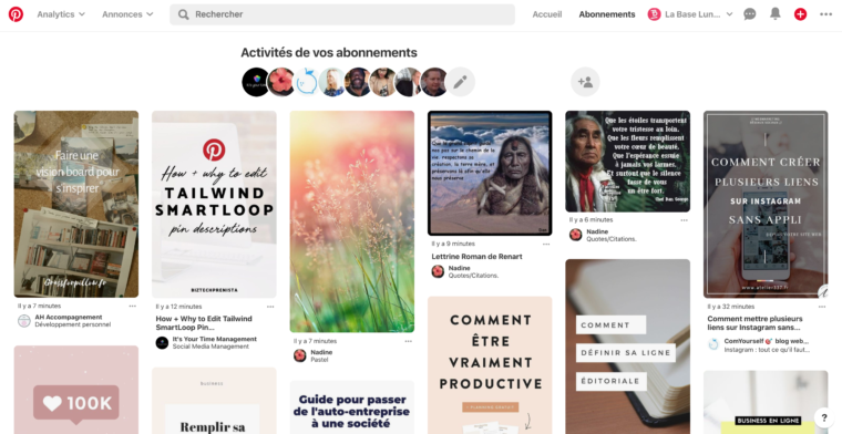 Section abonnements de Pinterest