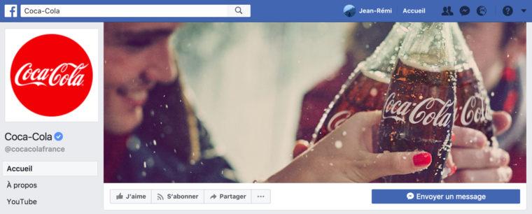 Aperçu de la Page Facebook de Coca-Cola France