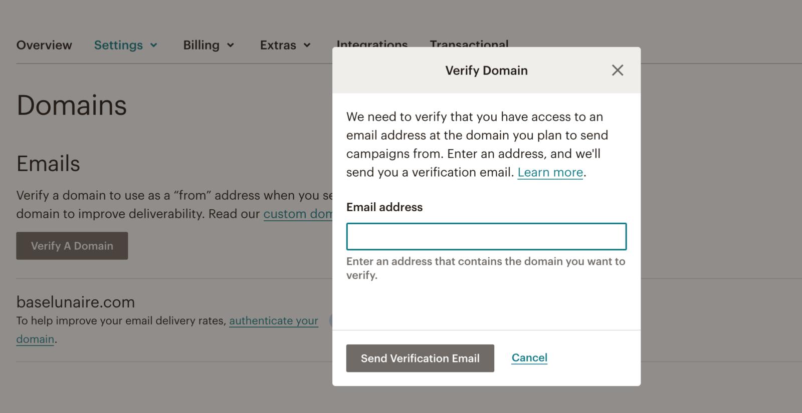 Vérifier un domaine sur Mailchimp