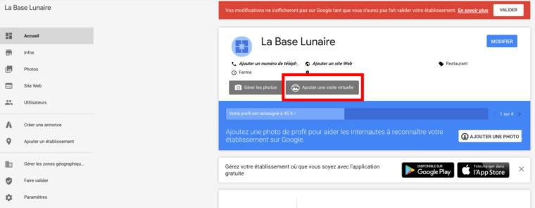 Ajouter une visite virtuelle à une fiche Google My Business